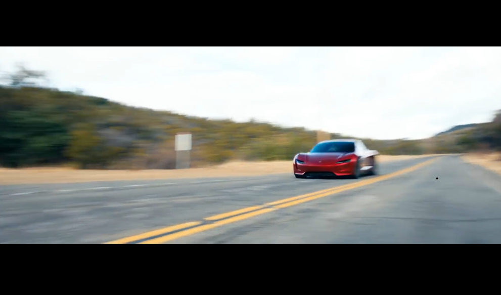 tesla next gen roadster s blistering acceleration cameos in latest promo video. Black Bedroom Furniture Sets. Home Design Ideas