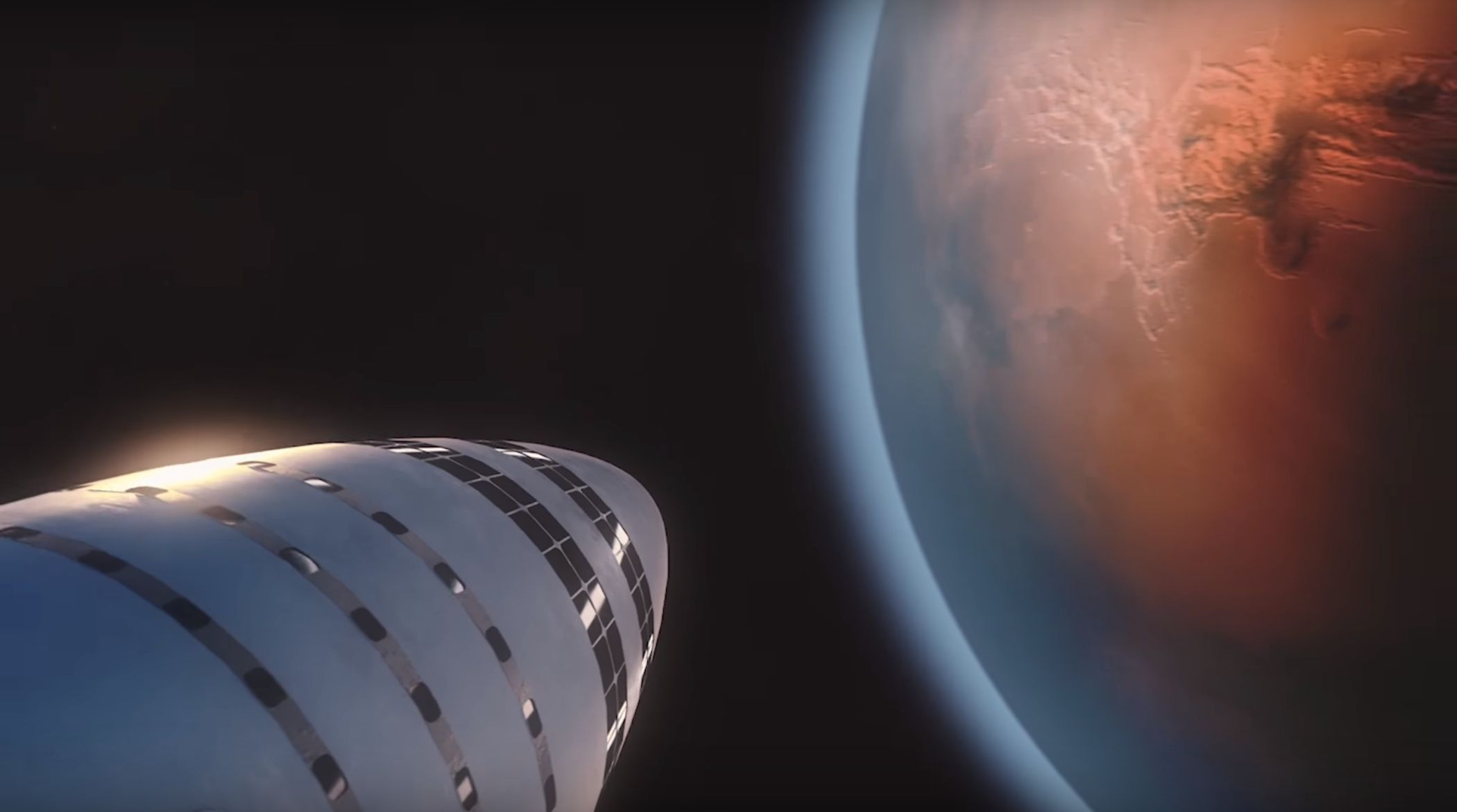 Spacex S Bfr Mars Rocket And Spaceship Rendered In