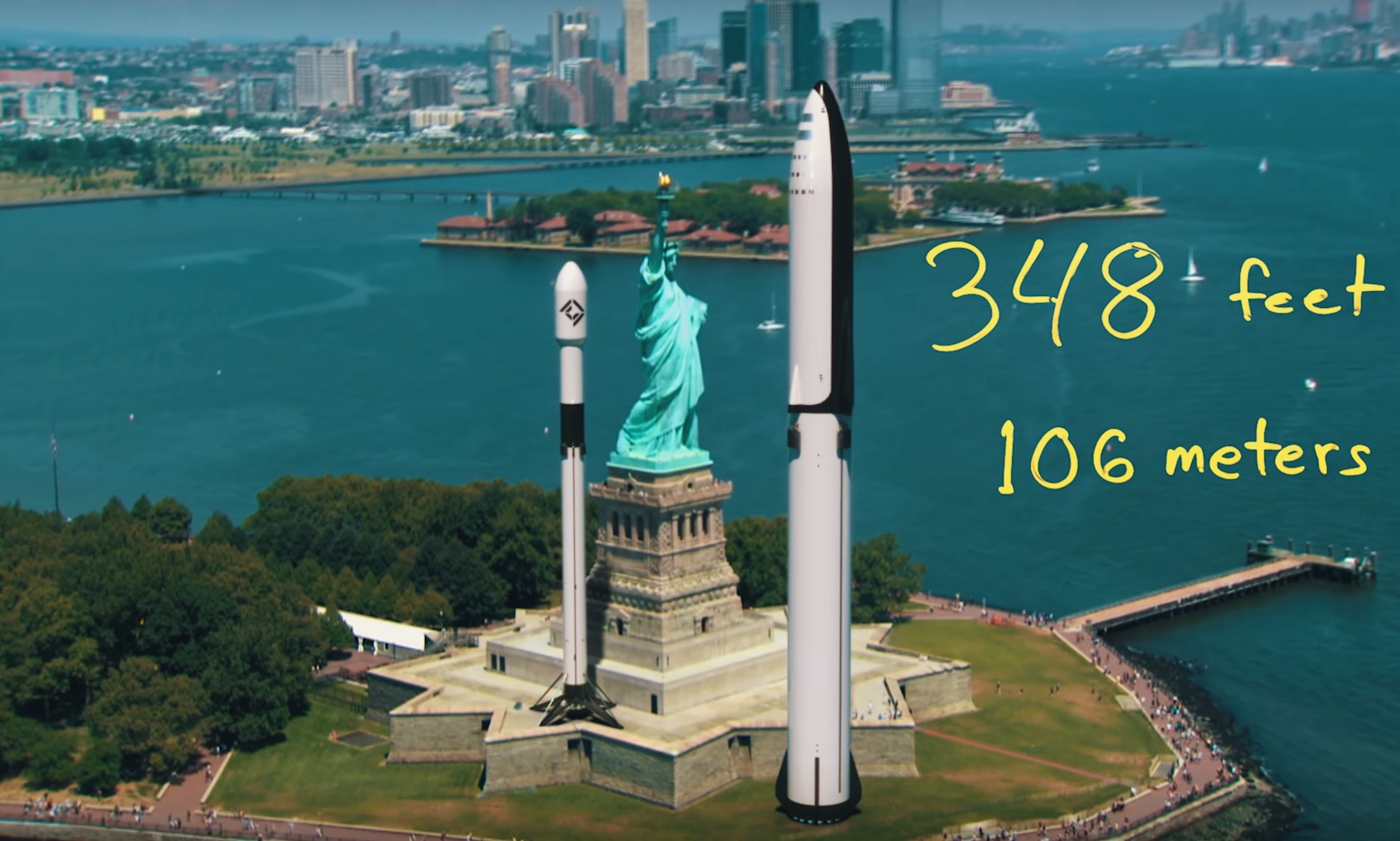 F9 BFR Statue of Liberty to scale (sirwrender)
