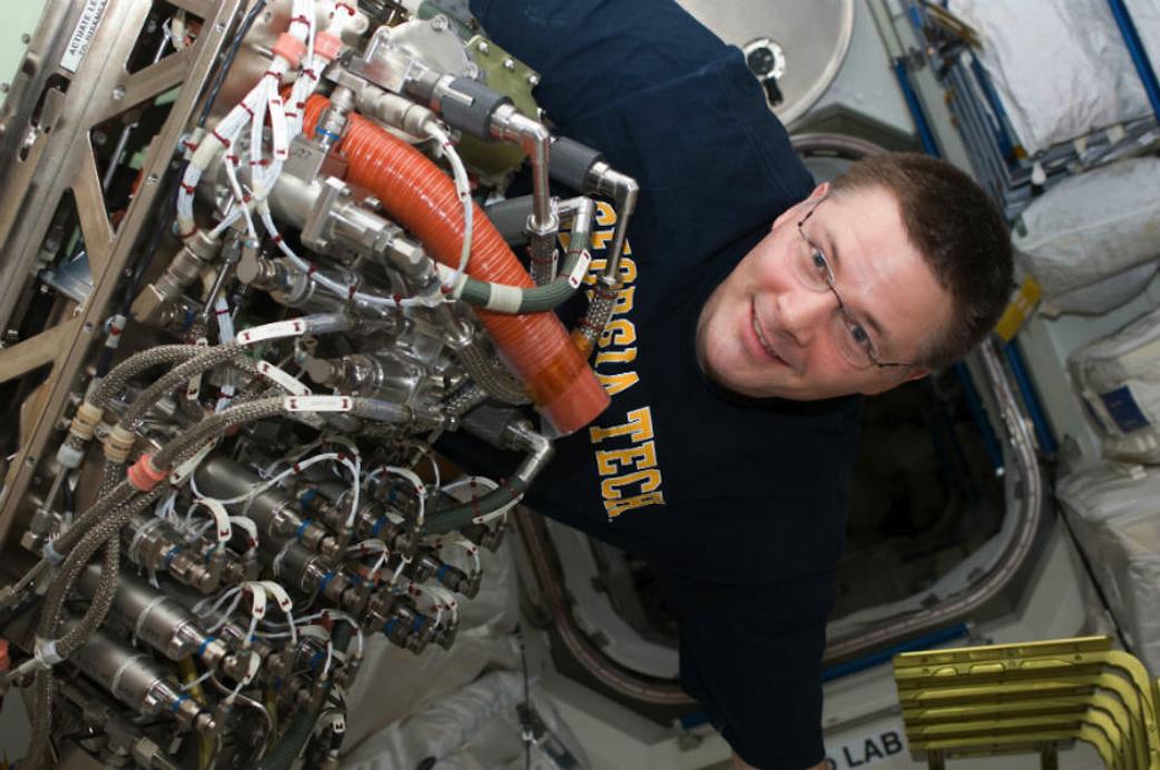 Sabatier reactor ISS install 2011 (NASA)