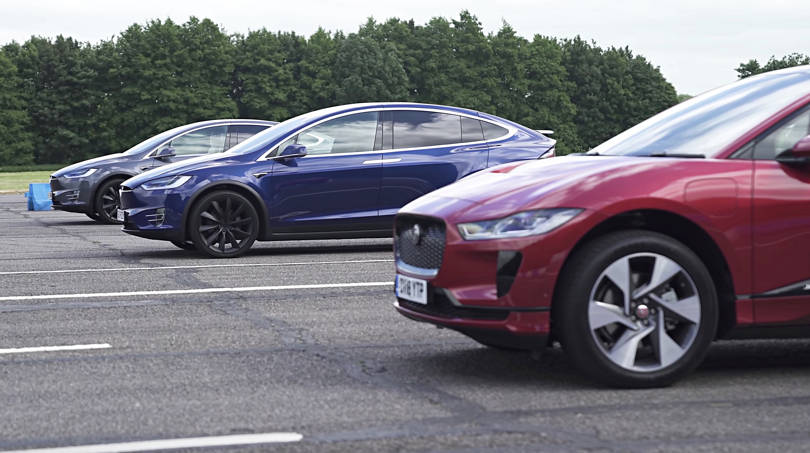 Tesla Model X Faces Off With Jaguar I Pace In Standing
