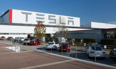 tesla fremont factory in northern california where the model 3 and model y are manufactured