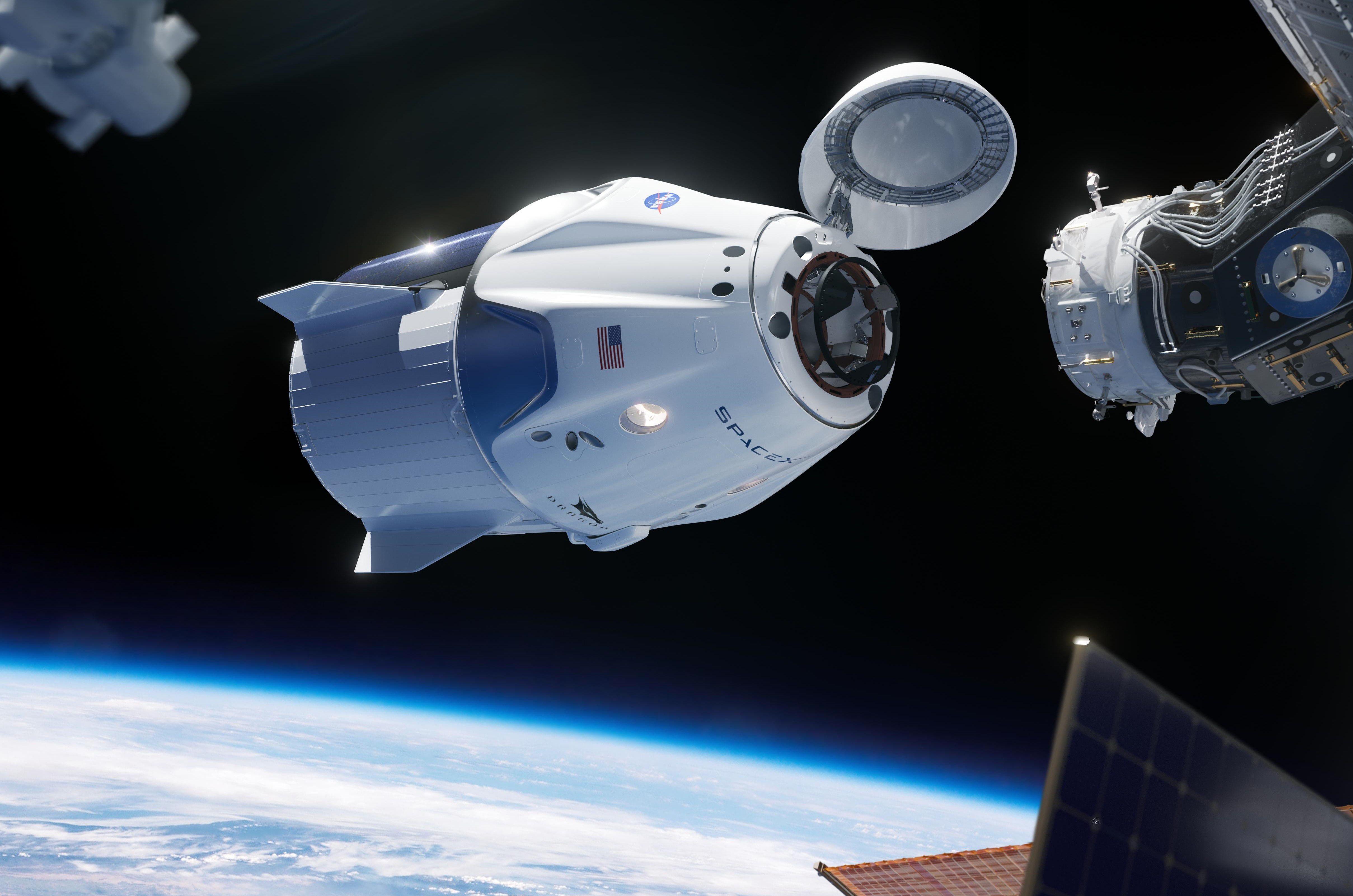 Crew Dragon approaches the ISS (SpaceX) 2