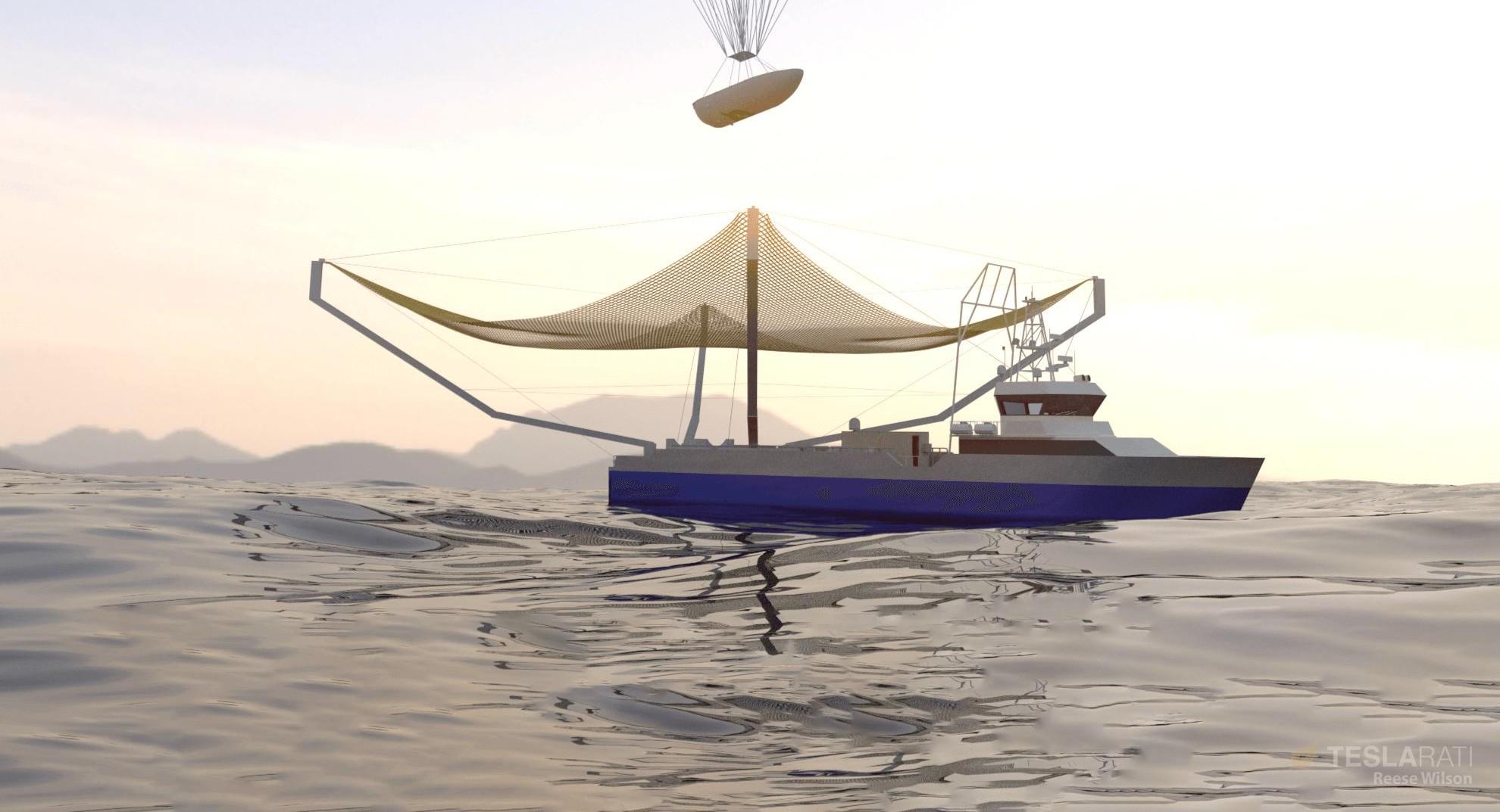 Renderings Of Spacex Clawboat S Huge Net Upgrade Is A