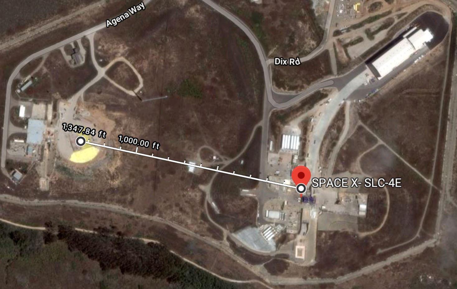SpaceX SLC-4 launch and landing (Google Maps)