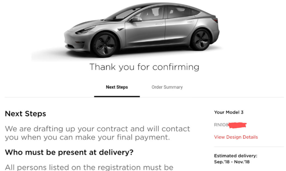 Tesla Updates Model 3 Order Confirmation Page To Bolster 5 Minute Delivery Process