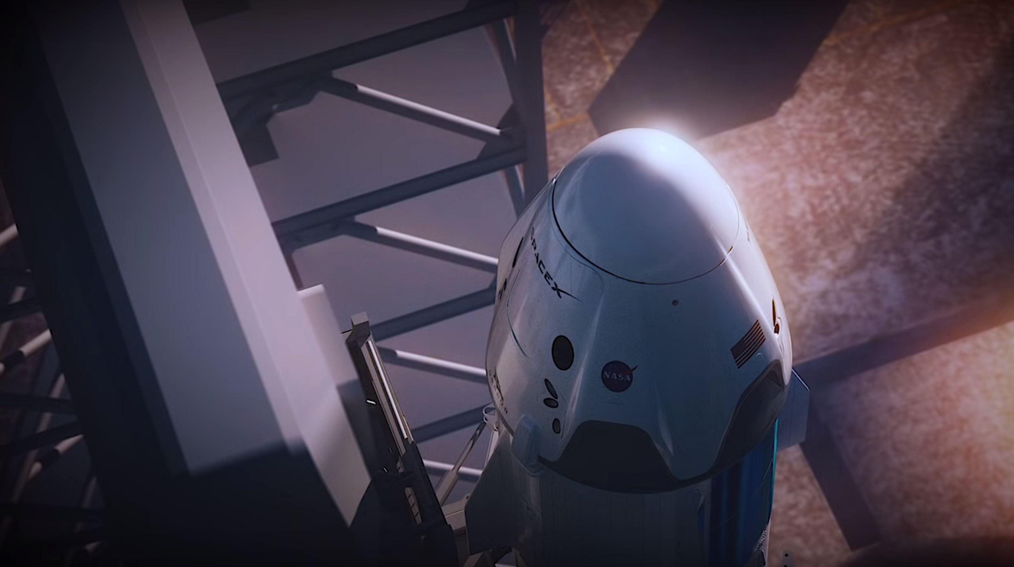 Crew Dragon atop Falcon 9 at 39A (SpaceX)
