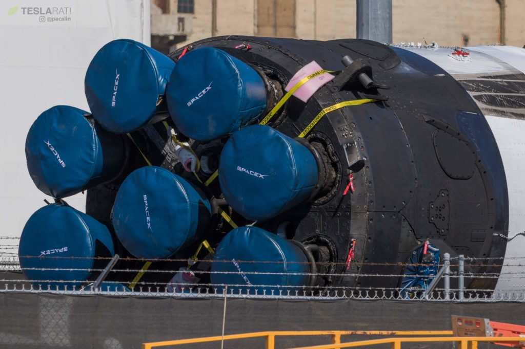SpaceX's third Block 5 Falcon 9 booster shows off its well-worn octaweb and Merlin engines after a successful launch debut and recovery. (Pauline Acalin)