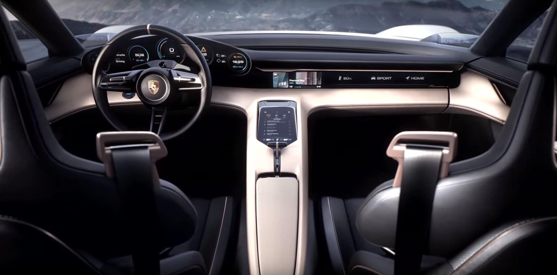 Porsche Taycan Interior Shows Prototype S Steering Wheel Ons Digital Instrument Cer