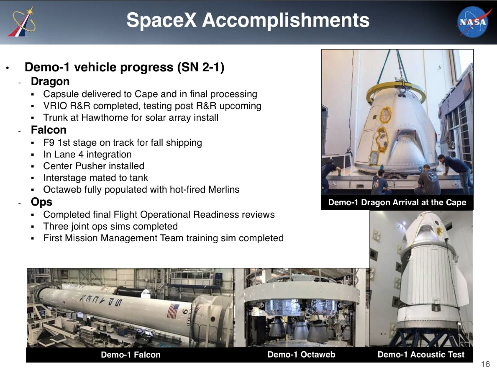 SpaceX Commercial Crew NAC update August 2018 2