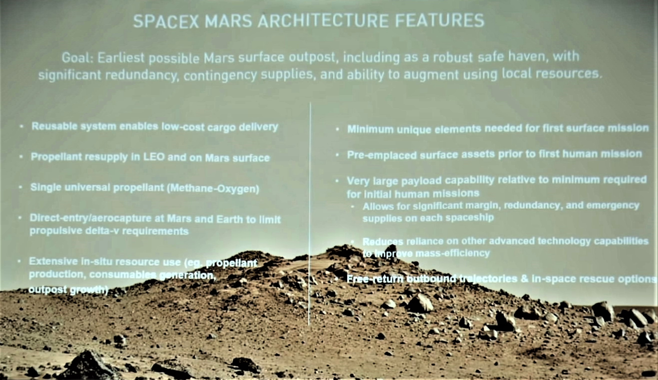 SpaceX Mars Architecture features – Wooster presentation (SpaceX)