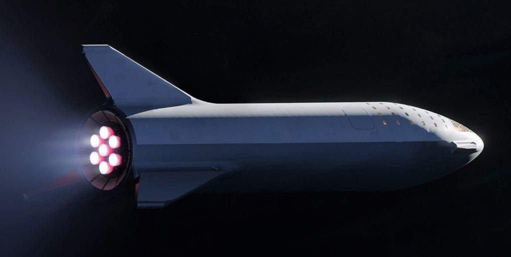 A zoomed view of SpaceX's updated BFR design. Seven Raptors (shown) power the spaceship upper stage. (SpaceX)