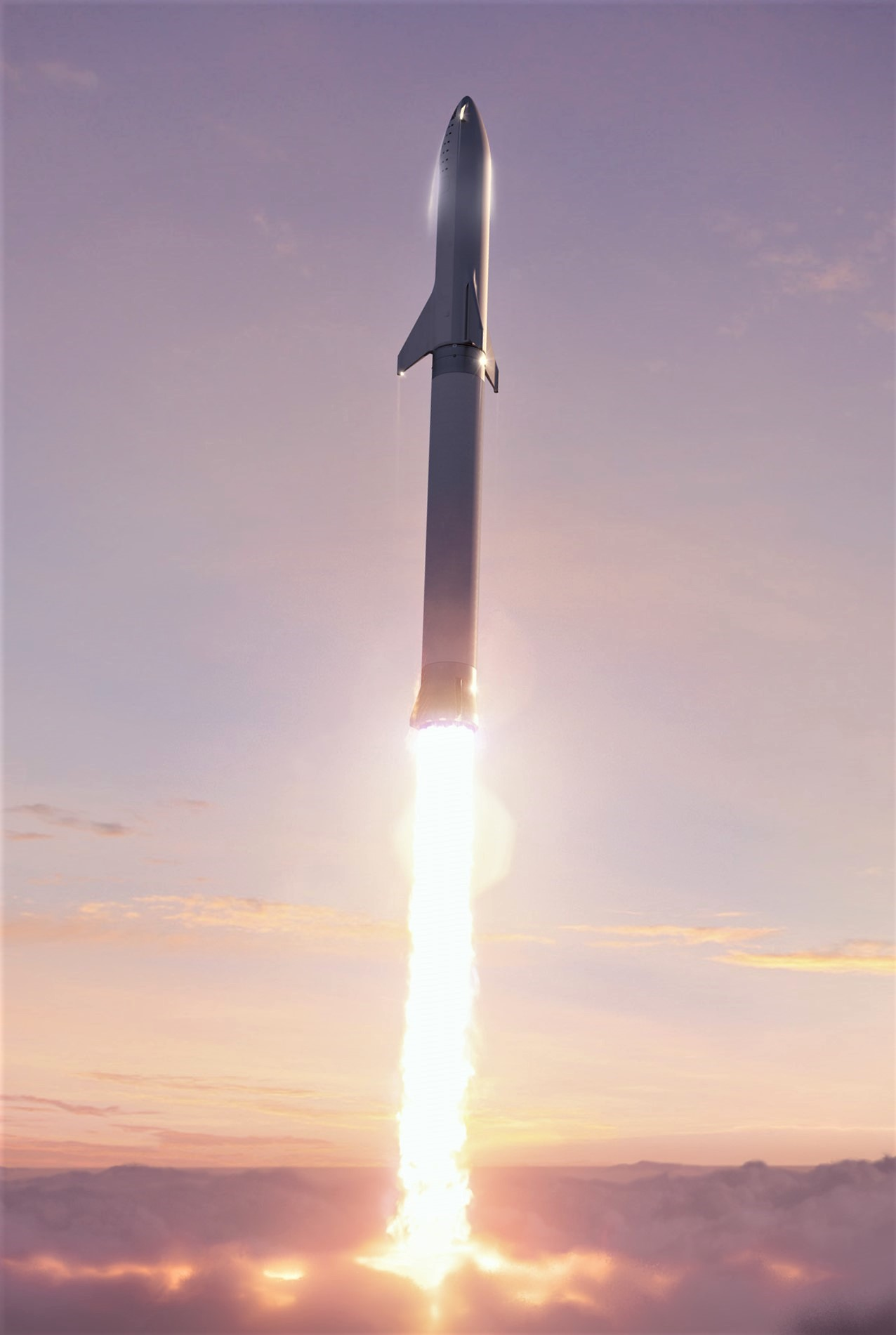 BFR 2018 through the clouds (SpaceX)