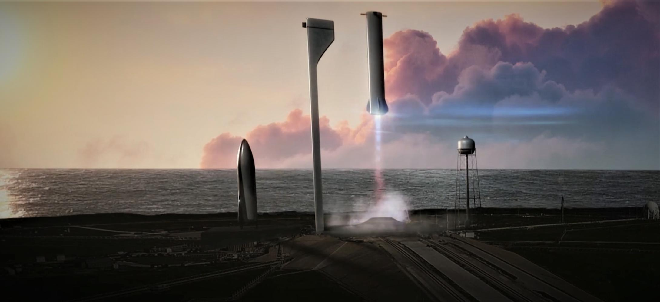 BFR booster launch mount landing (SpaceX)