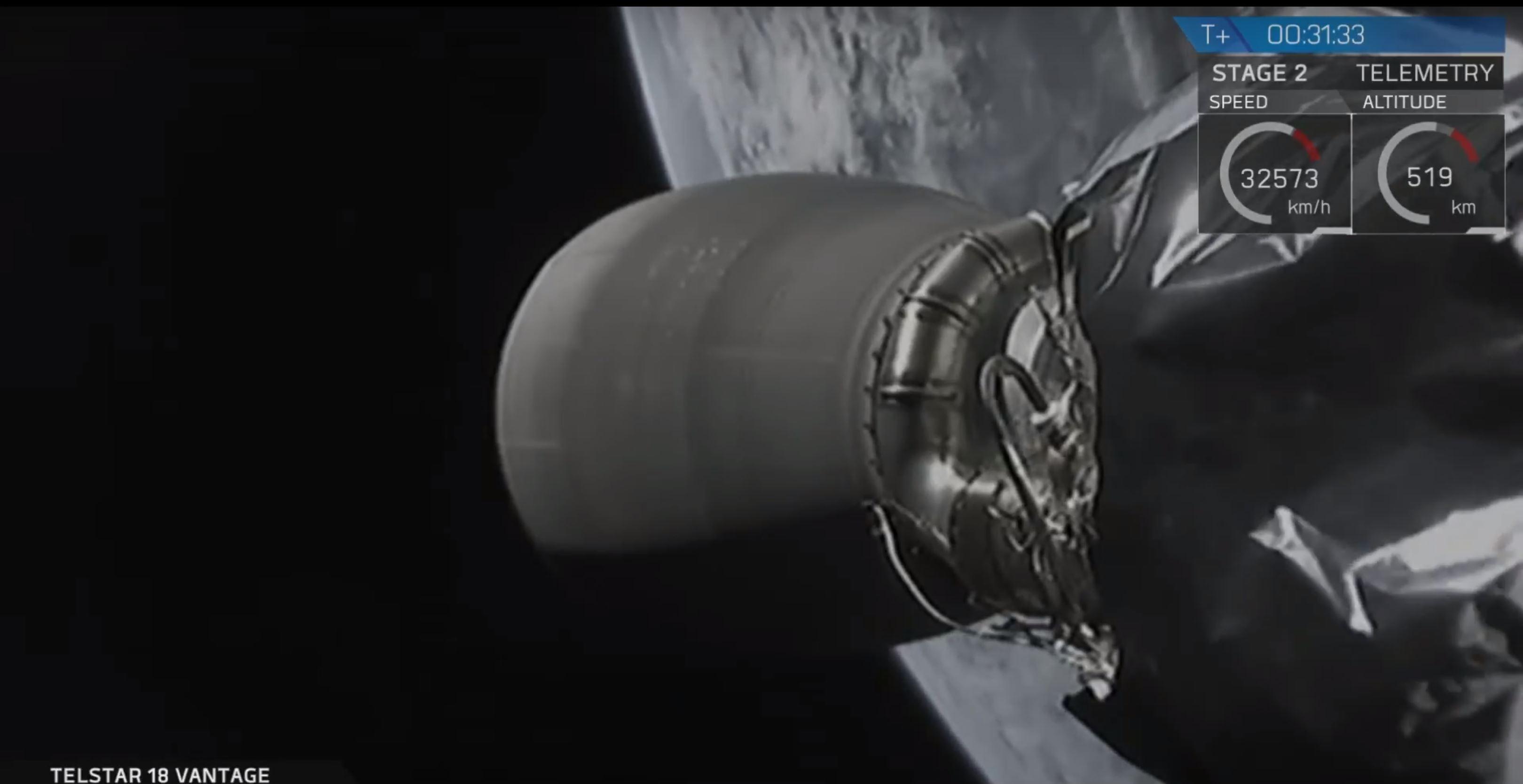 Falcon 9 S2 in orbit Telstar 18V (SpaceX)