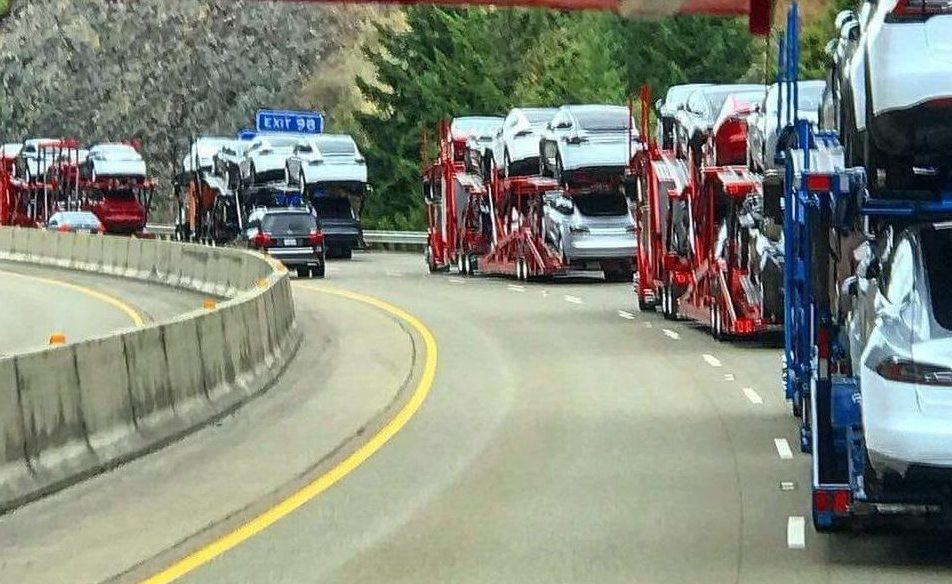 Tesla electric cars being transported