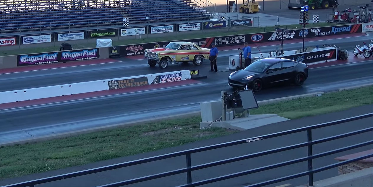 tesla model 3 performance vs ford falcon drag racer