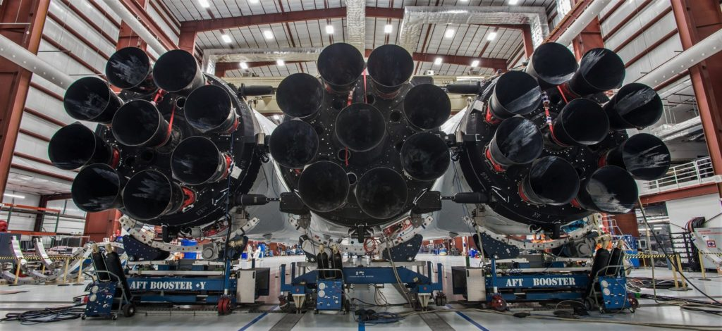 Falcon Heavy prior to its successful Feb 2018 debut. (SpaceX)
