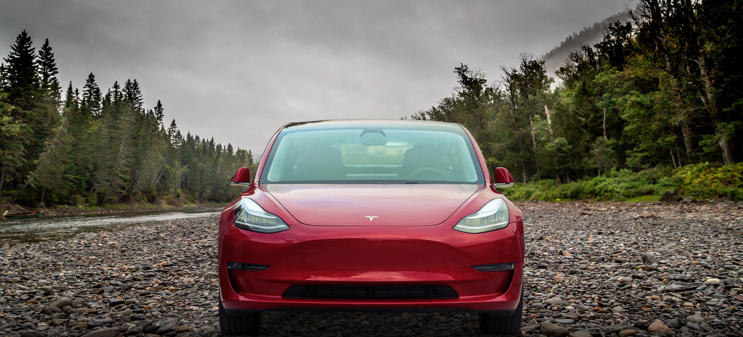 Red Tesla Model 3 with Pine Trees