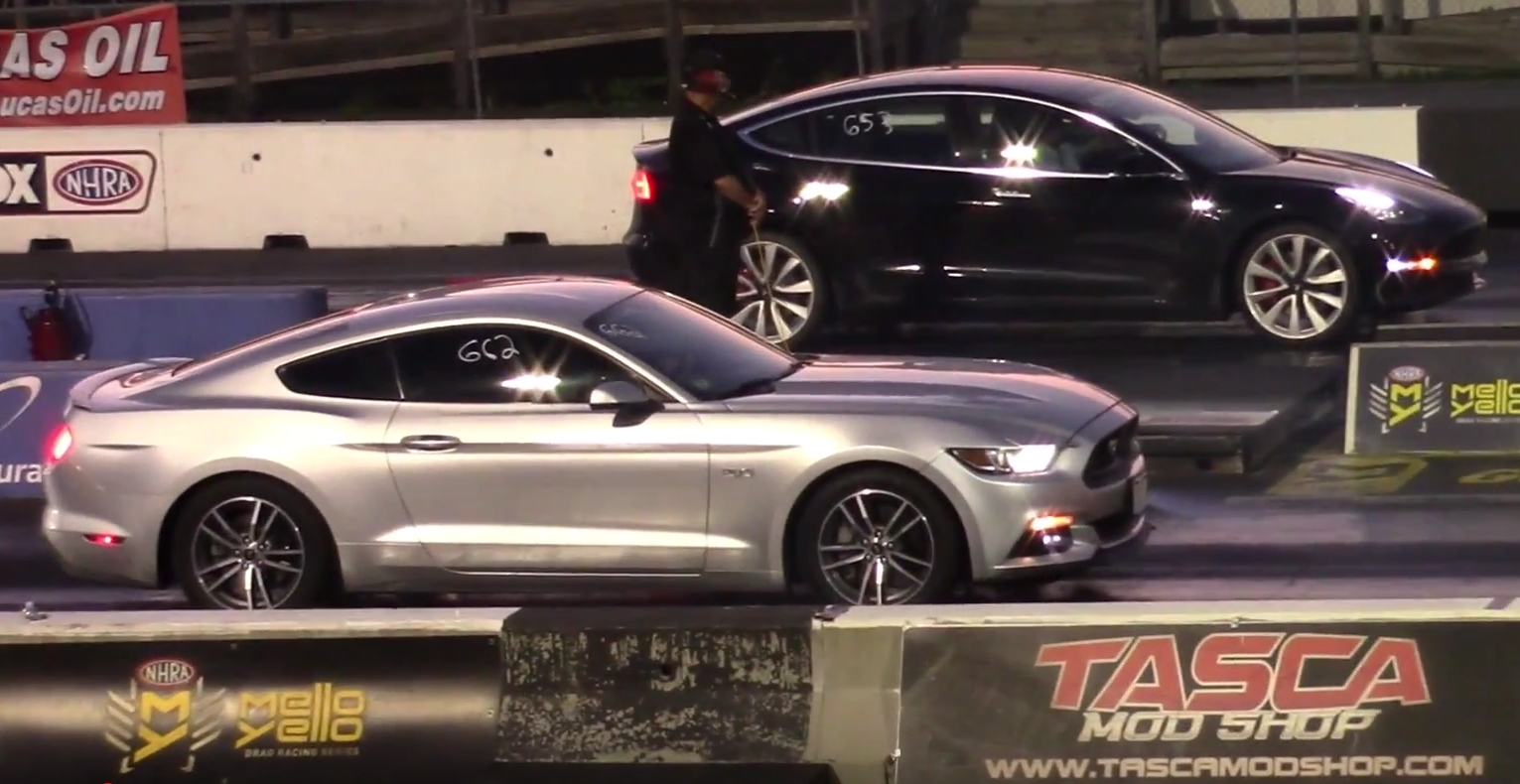 Tesla model 3 performance dominates ford mustang gt twice in double drag race