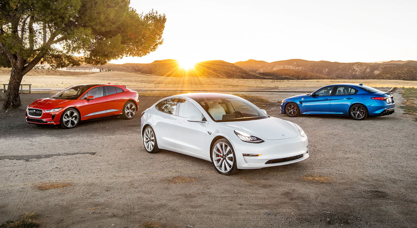 Tesla Model 3 With Track Mode Squares Off Against Jaguar I Pace And Motortrend S Top Rated Sports Sedan