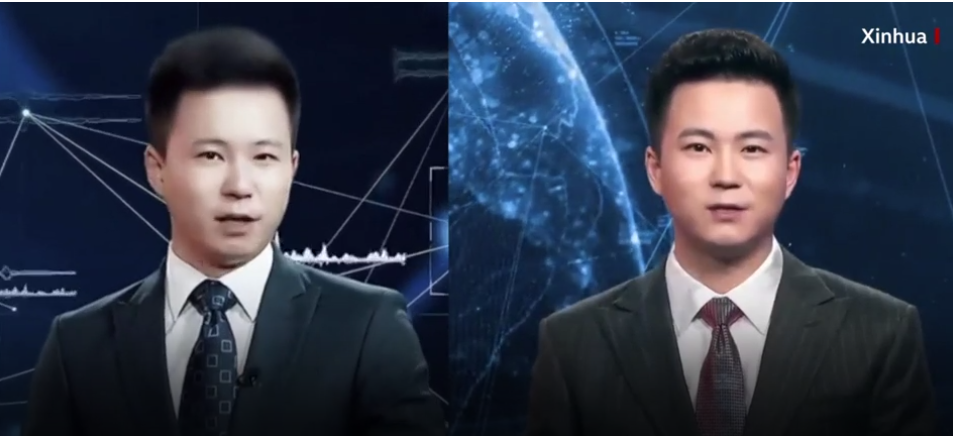 Chinese anchors – one AI, one real.