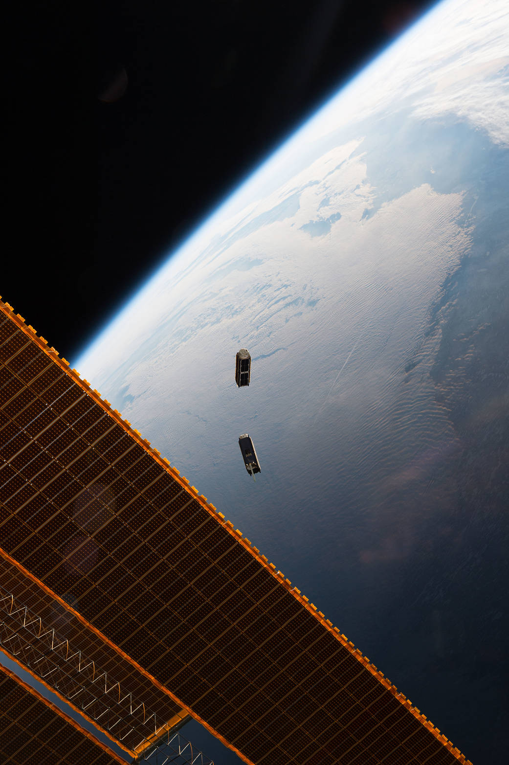 CubeSats deployed from the ISS.