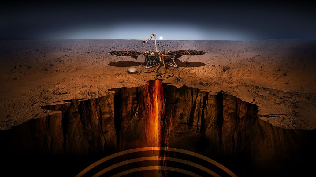 InSight drills on Mars.