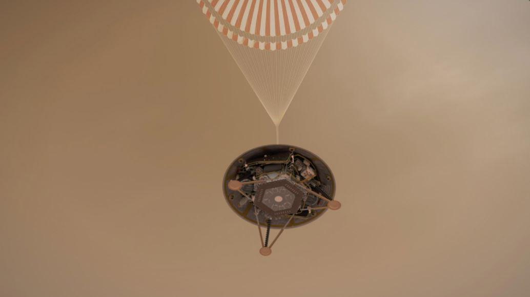 InSight flies on a parachute.