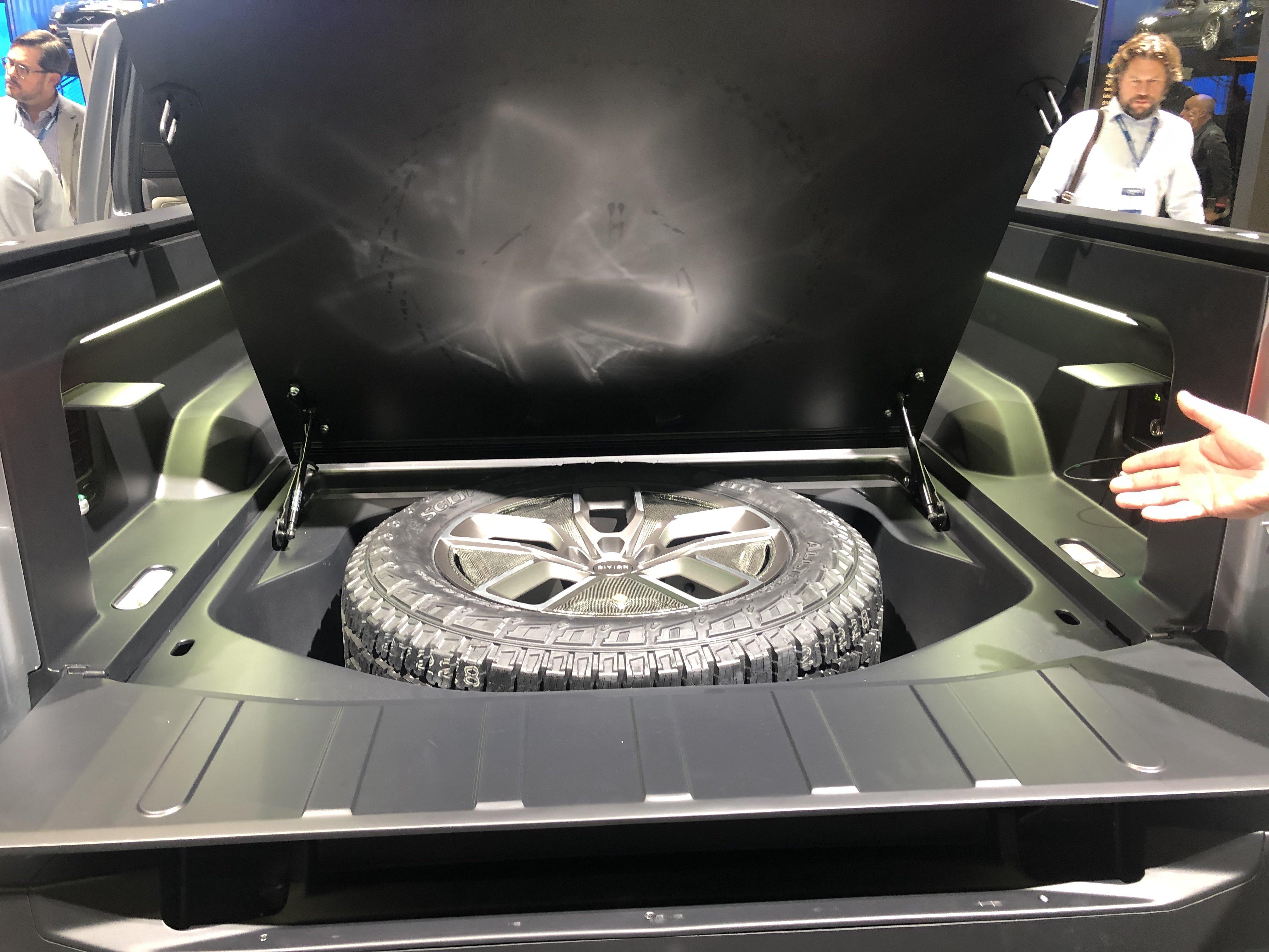 Rivian hidden tire compartment
