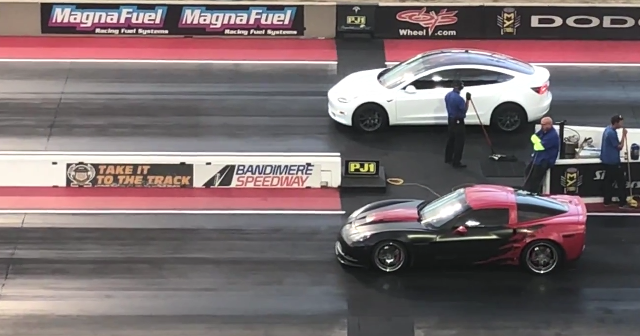 Tesla Model 3 Performance shocks Chevrolet Corvette in drag race