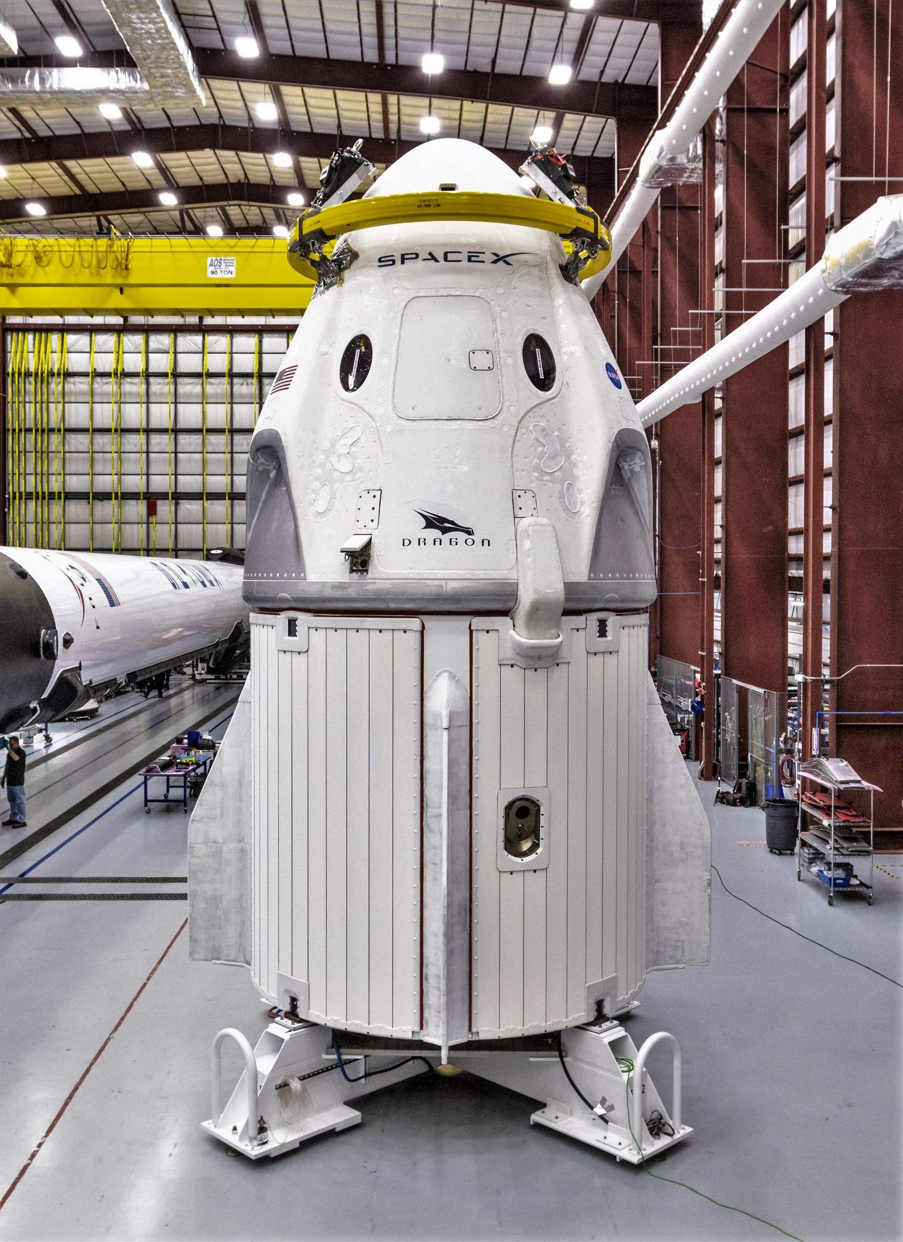 Crew Dragon DM-1 and Falcon 9 B1051 39A (SpaceX) 3 tall(c)