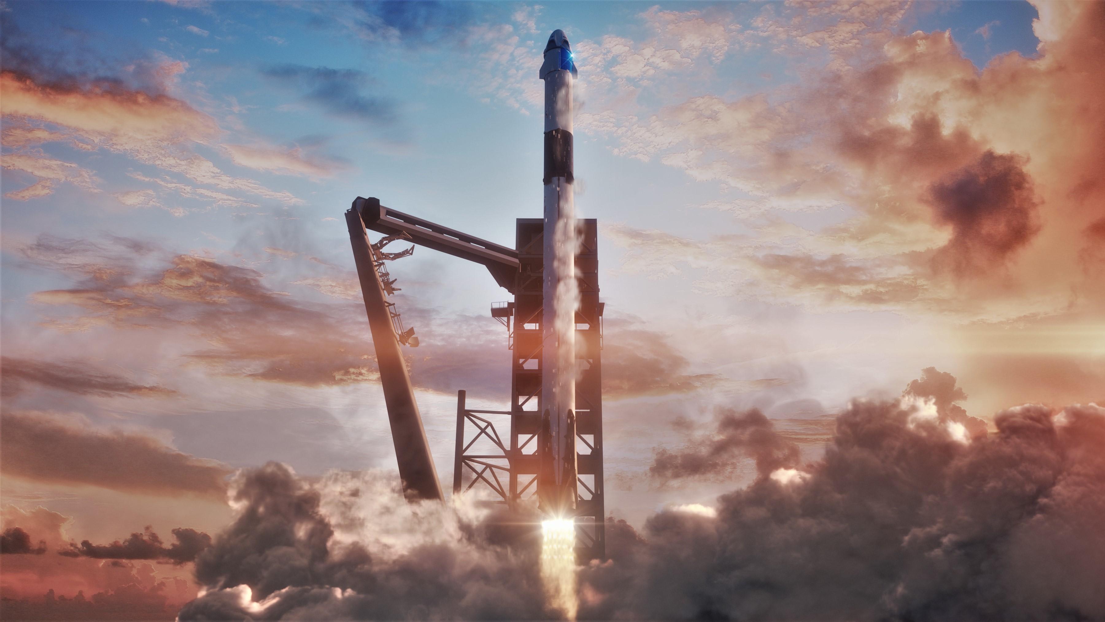 Falcon 9 B1050 Crew Dragon DM-1 render (SpaceX)