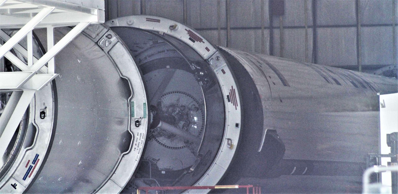 Falcon 9 booster 39A hangar 112718 (Tom McCool) 1(c)