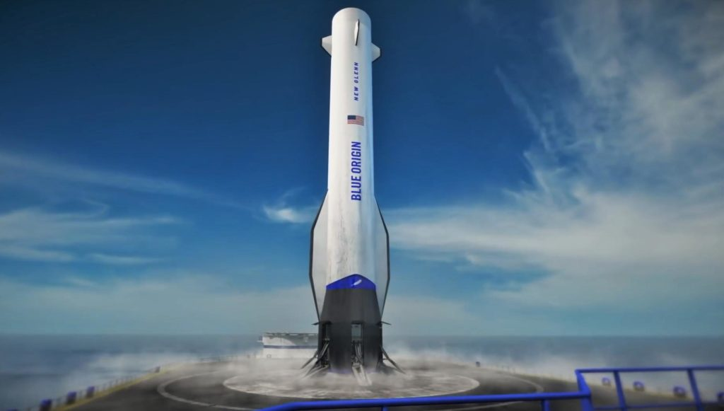 New Glenn is a massive reusable rocket that will stand ~82m (270 ft) tall and be able to launch up to 45 metric tons (100,000 lb) to low Earth orbit (LEO). (Blue Origin)