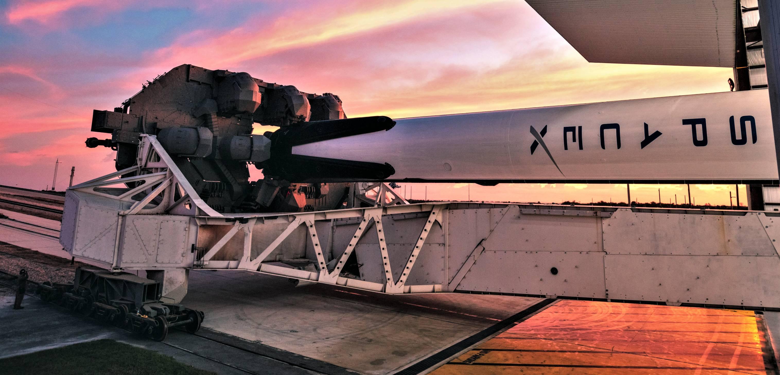 Crew Dragon DM-1 Falcon 9 B1051 rollout (SpaceX) 2 crop(c)