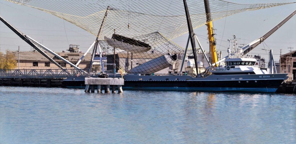Mr. Steven was captured performing tests with a duo of fairings and nets at its Port of LA berth, January 22nd. (Pauline Acalin)