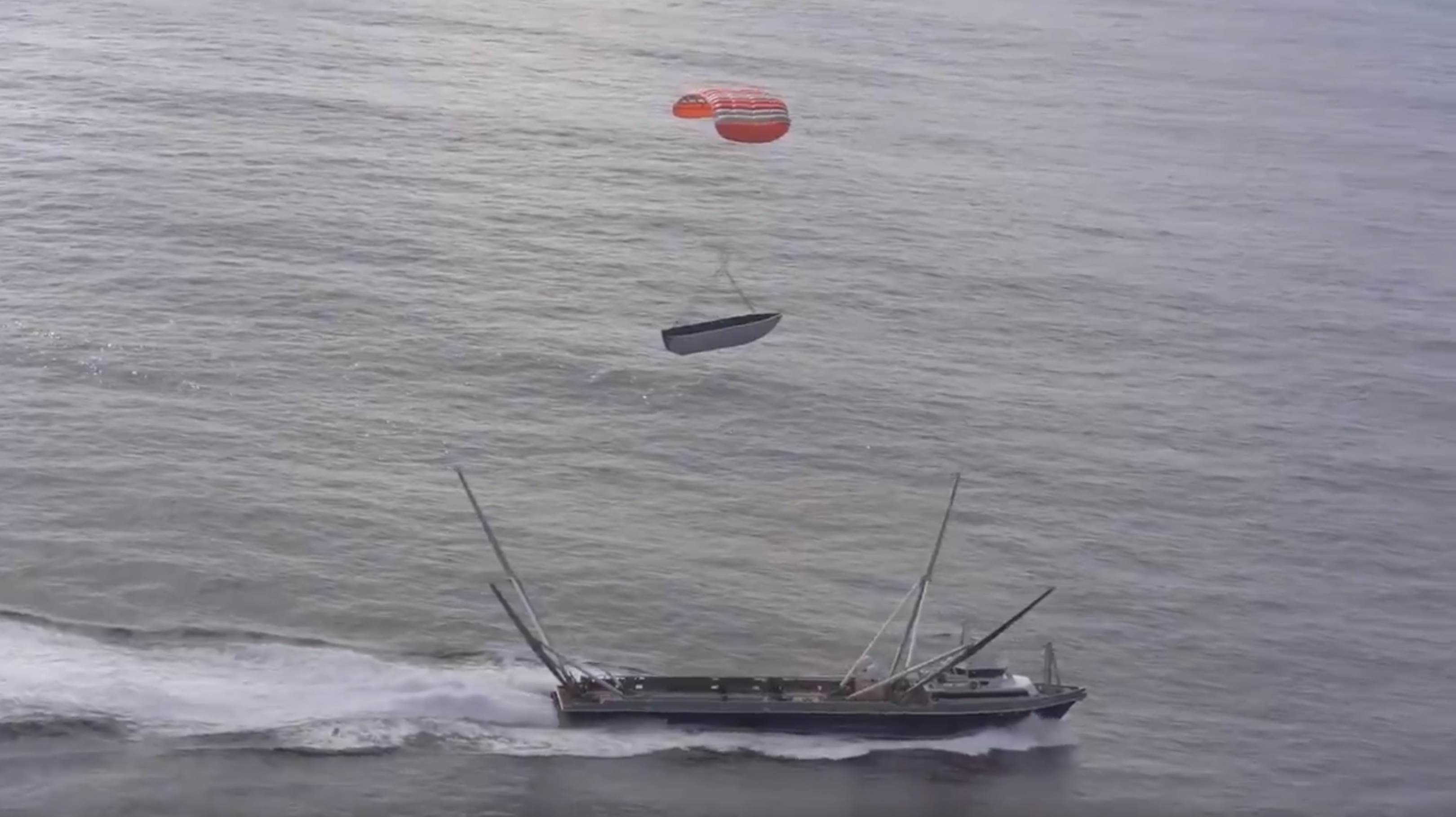 Mr Steven fairing drop test near miss Jan 2019 (SpaceX) 2