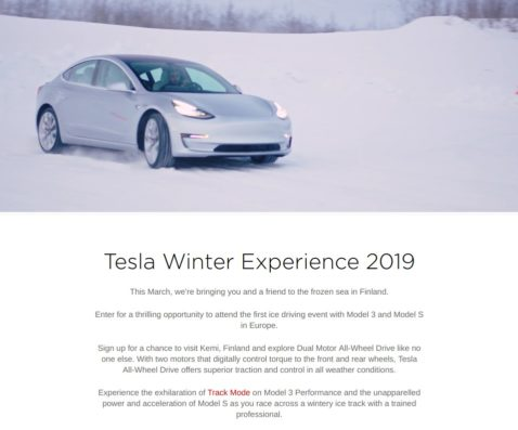 Tesla Sends Out Invites For Special Model 3 And S Winter Experience