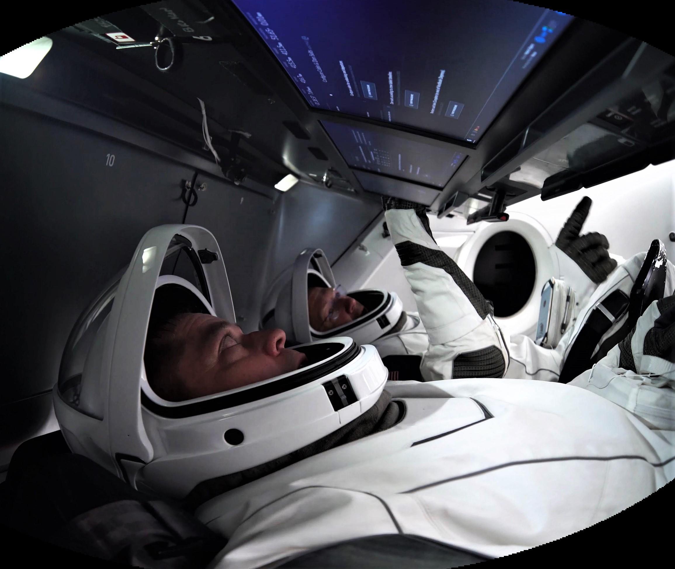 Crew Dragon DM-2 astronaut training video (NASA) pano 2