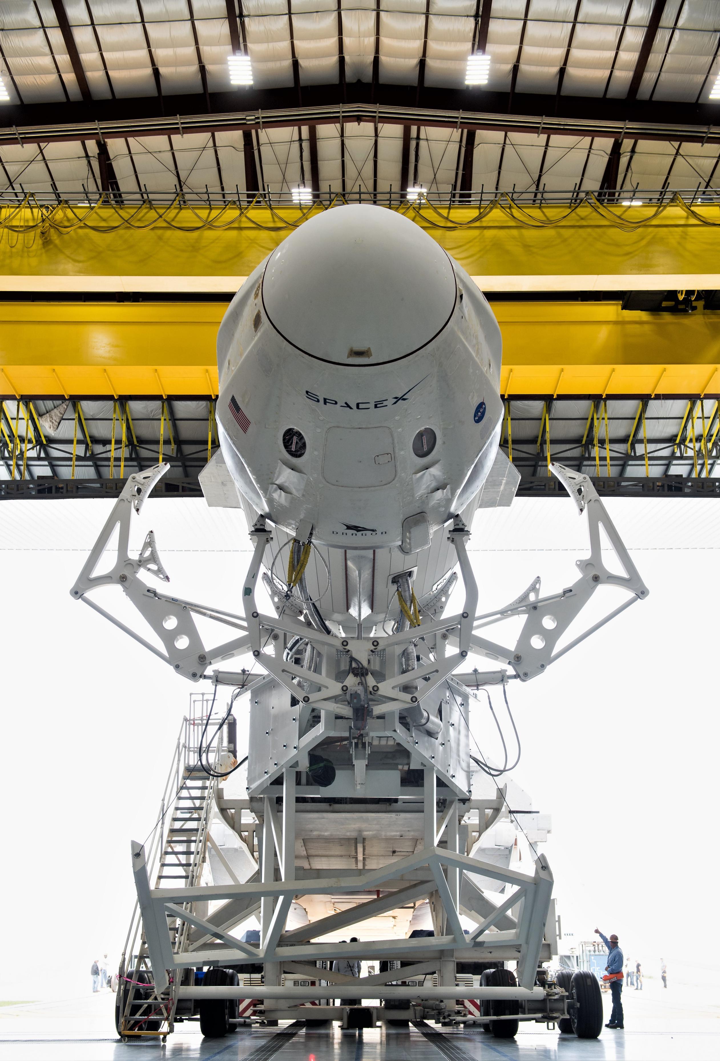 Crew Dragon Falcon 9 DM-1 39A rollout 022819 (NASA – Joel Kowsky) 1 (c)