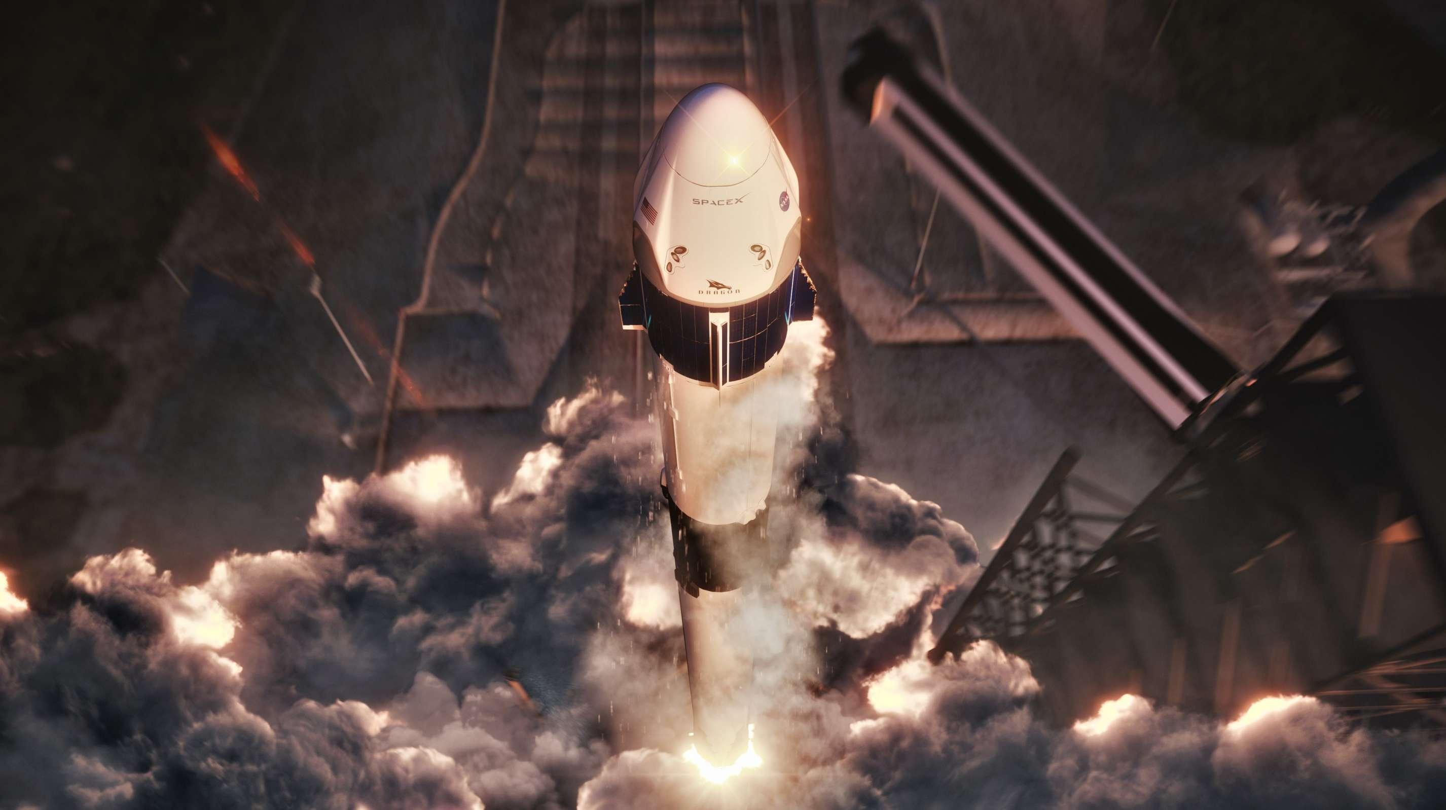 Falcon 9 B1050 Crew Dragon DM-1 liftoff render (SpaceX) 1 (c)