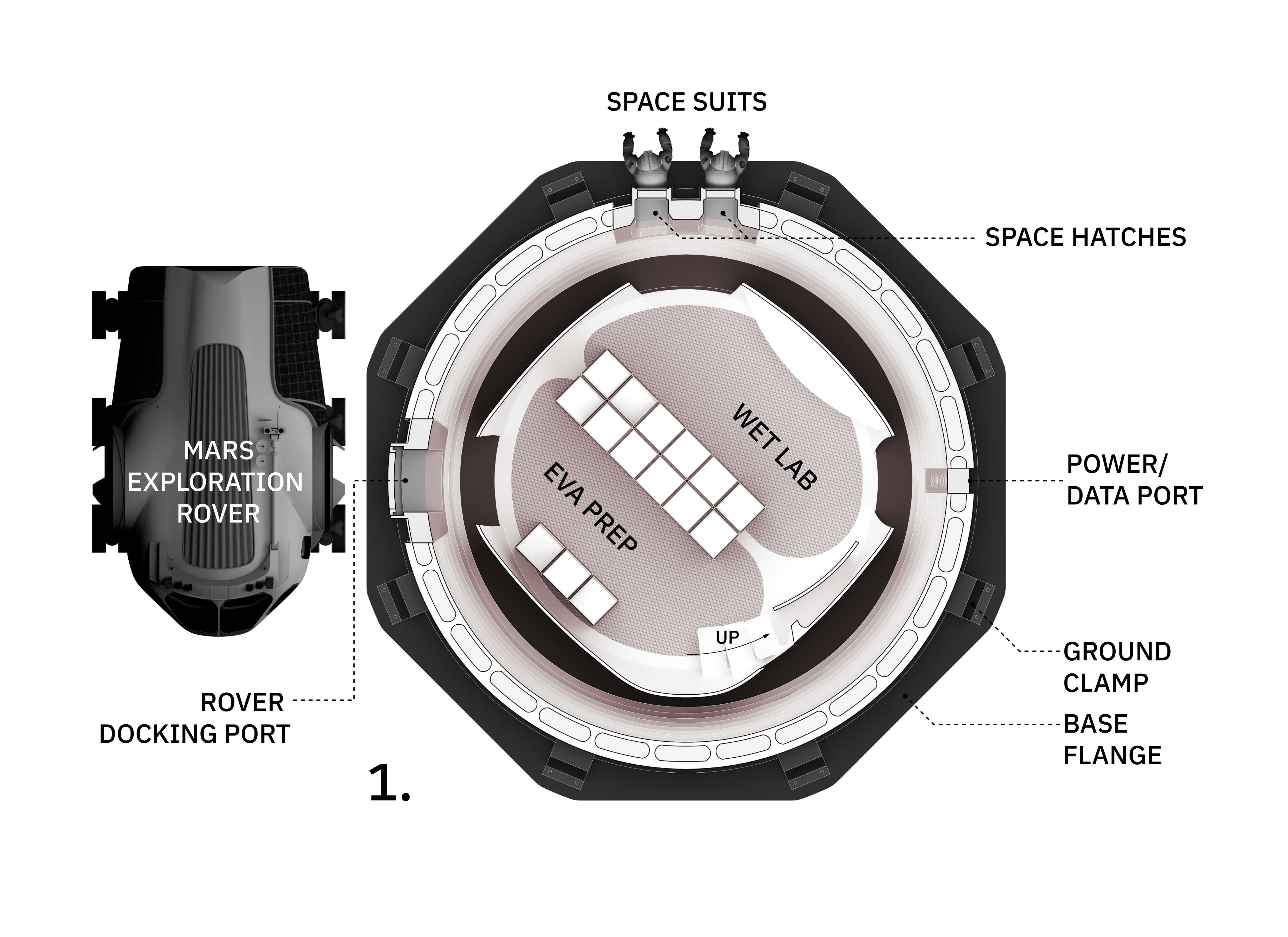 MARSHA Mars habitat interior schematic (AI Space Factory) floor 1 (c)