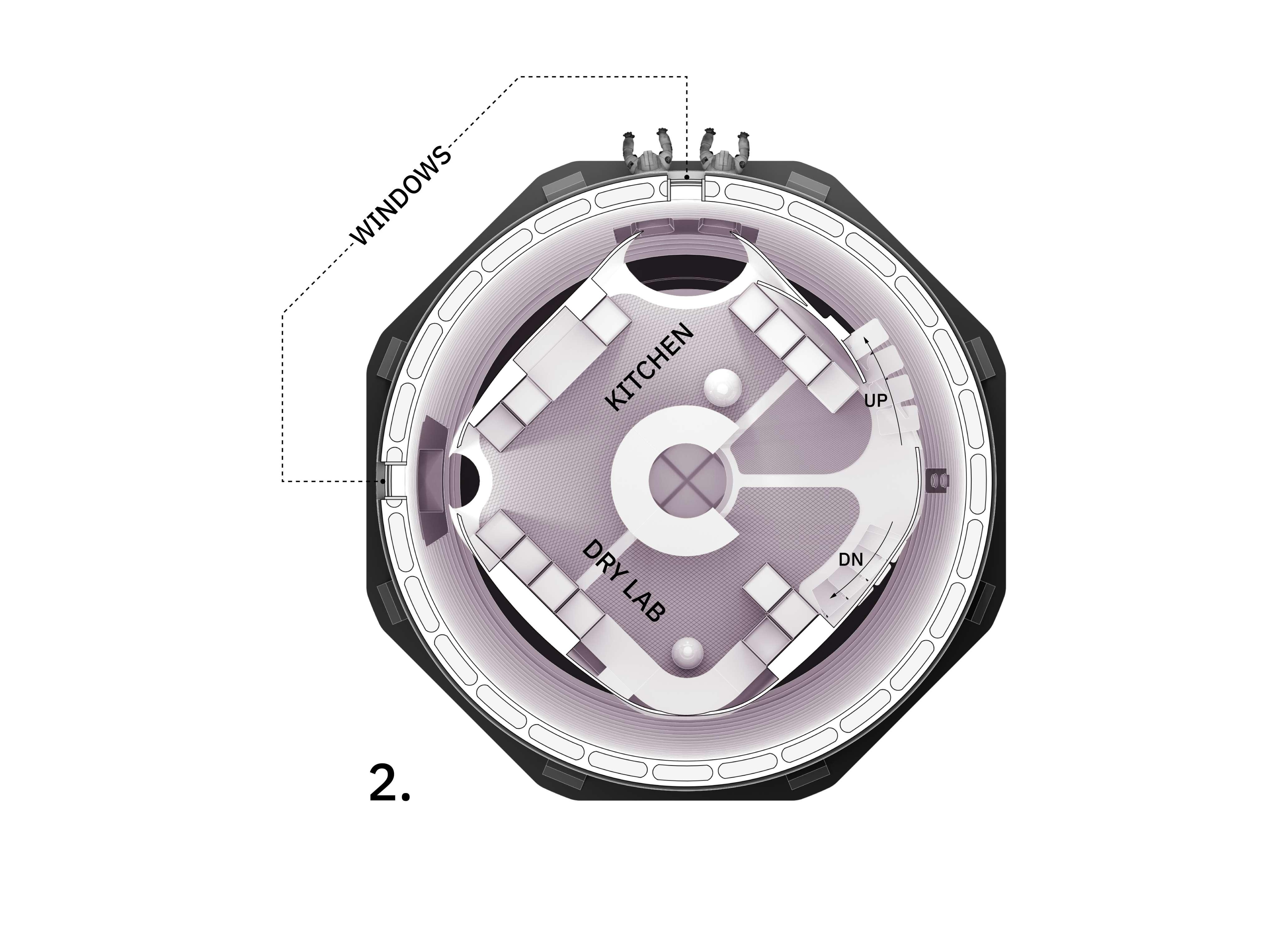 MARSHA Mars habitat interior schematic (AI Space Factory) floor 2 (c)