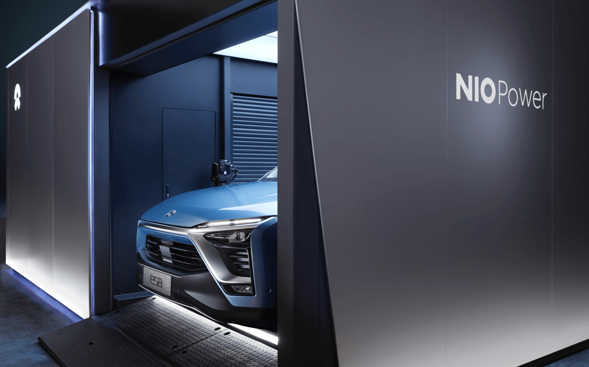 nio's electric car battery swapping station looks to pick up where