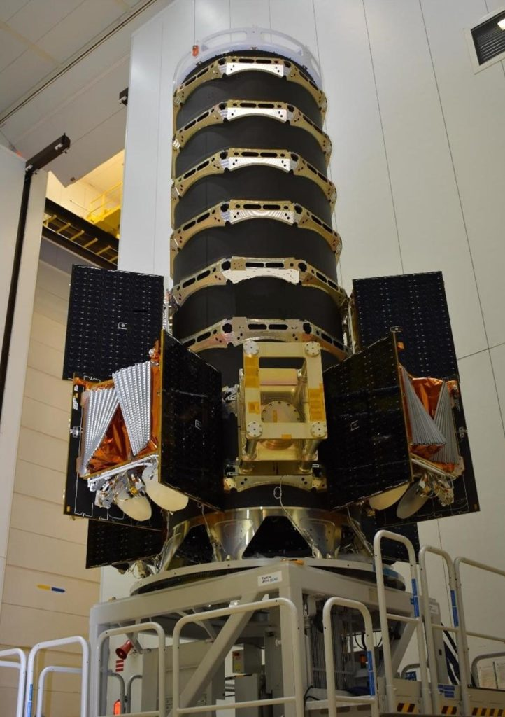 The custom-built spacecraft dispenser is seen here with six satellites attached. (OneWeb)