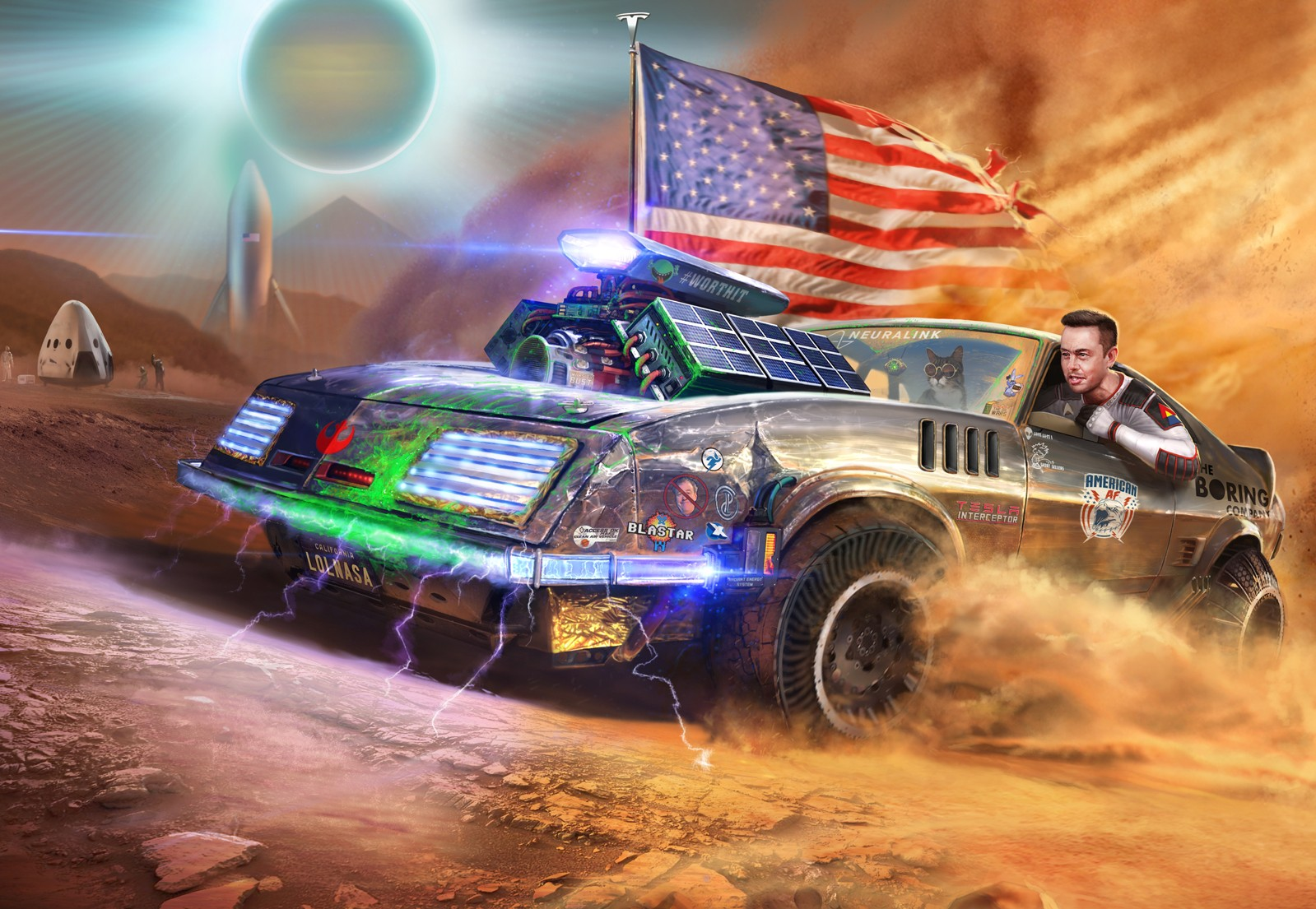 Tesla Enthusiast Celebrates Elon Musk S Daring Rebellious Streak In Epic Illustration High quality american af gifts and merchandise. tesla enthusiast celebrates elon musk s