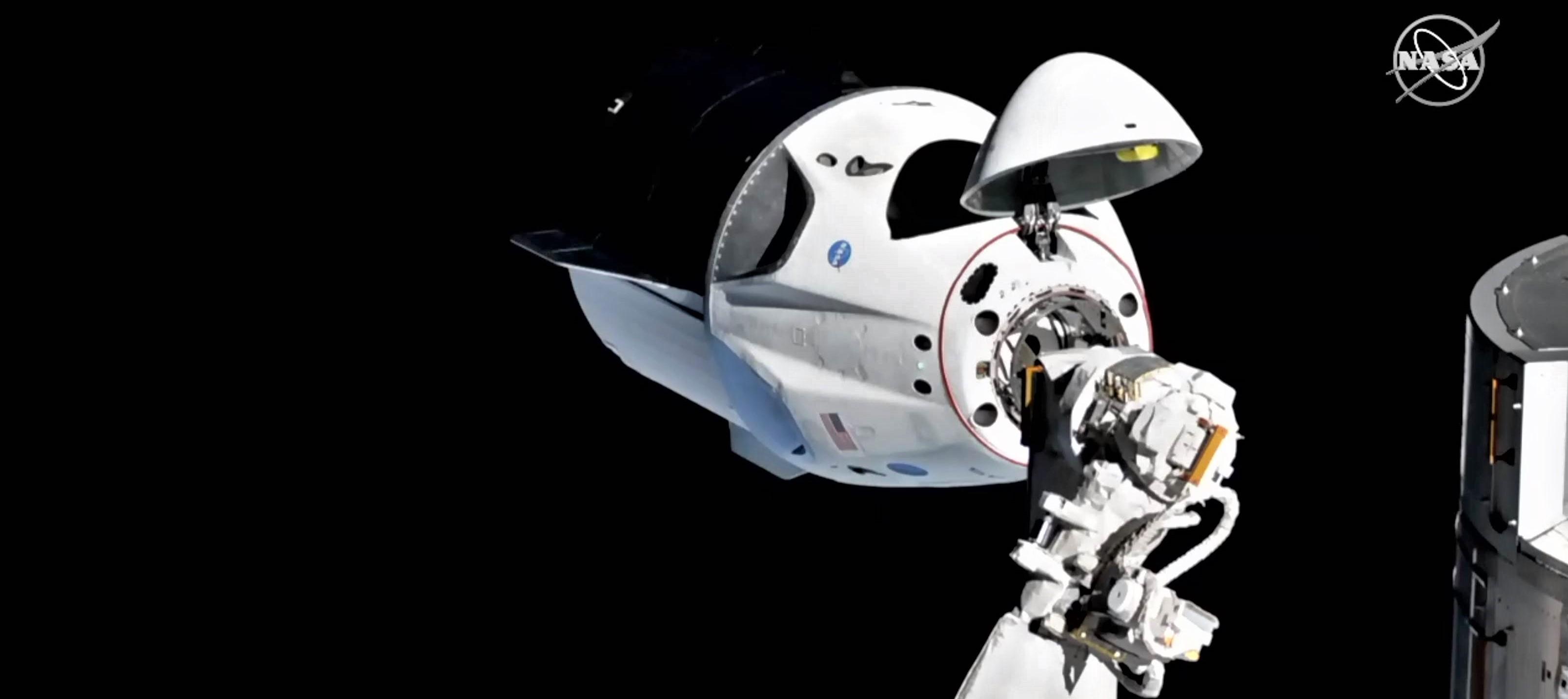Crew Dragon DM-1 ISS arrival 030319 (NASA) 4 edit