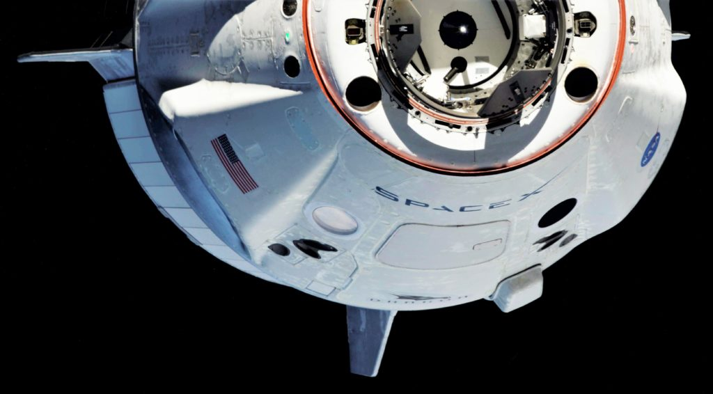 SpaceX's Crew Dragon is seen here in spectacular detail shortly before completing a flawless inaugural rendezvous with the International Space Station. (Oleg Kononenko/Roscosmos)