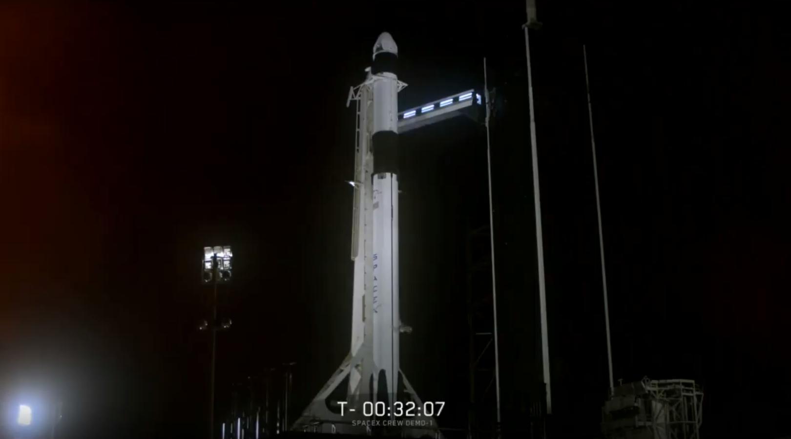 Crew Dragon Falcon 9 B1051 DM-1 webcast (SpaceX) 1